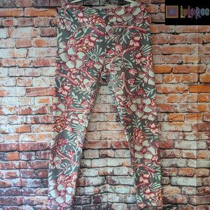 Women's LuLaRoe Gray/Pink Floral Leggings OS